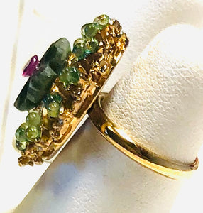 Jade, Peridot and Ruby Ring