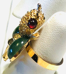 Jade and Garnet Ring