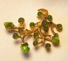 Load image into Gallery viewer, Tree of Life Peridot Brooch