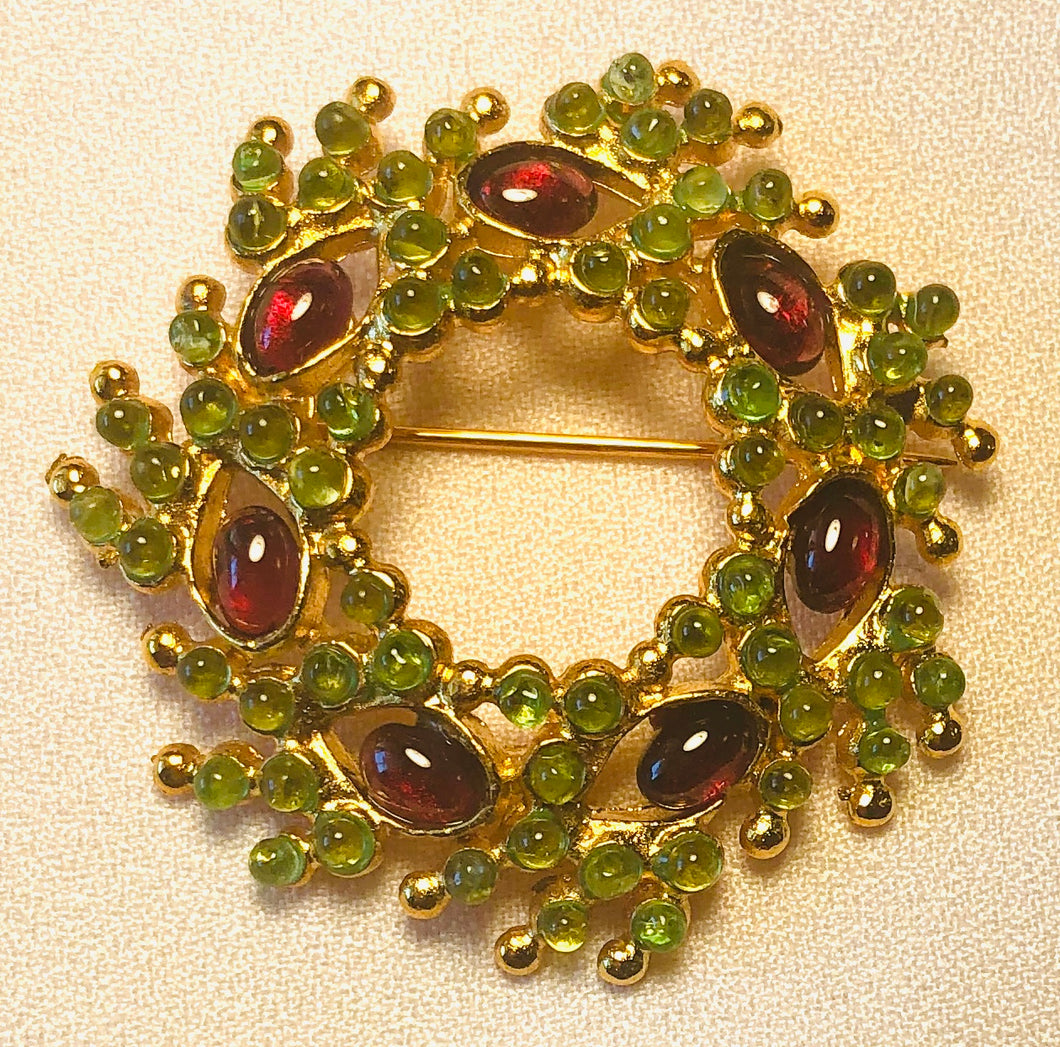 Peridot and Garnet Brooch