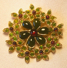 Load image into Gallery viewer, Peridot, Garnet and Jade Brooches