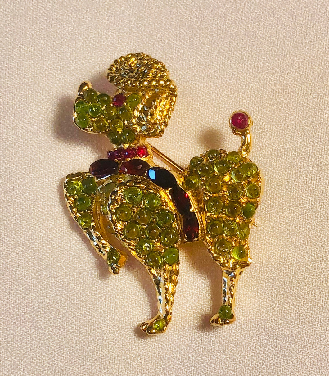 Peridot, Garnet and Genuine Ruby Eye Brooch