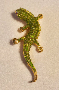 Peridot and Genuine Ruby Eyes Brooch