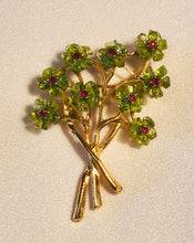 Load image into Gallery viewer, Peridot and Genuine Ruby Brooch