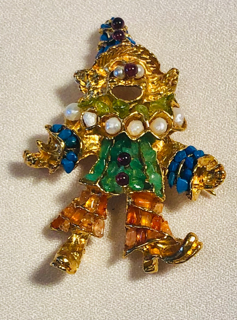 Clown Multi Stone Brooch