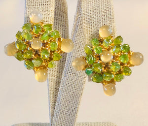 Peridot and Moonstone Earring