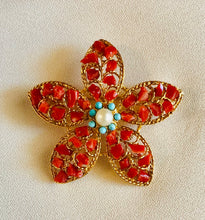 Load image into Gallery viewer, Coral, Turquoise and Pearl Brooch
