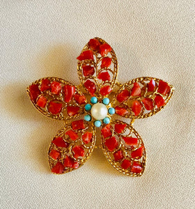 Coral, Turquoise and Pearl Brooch