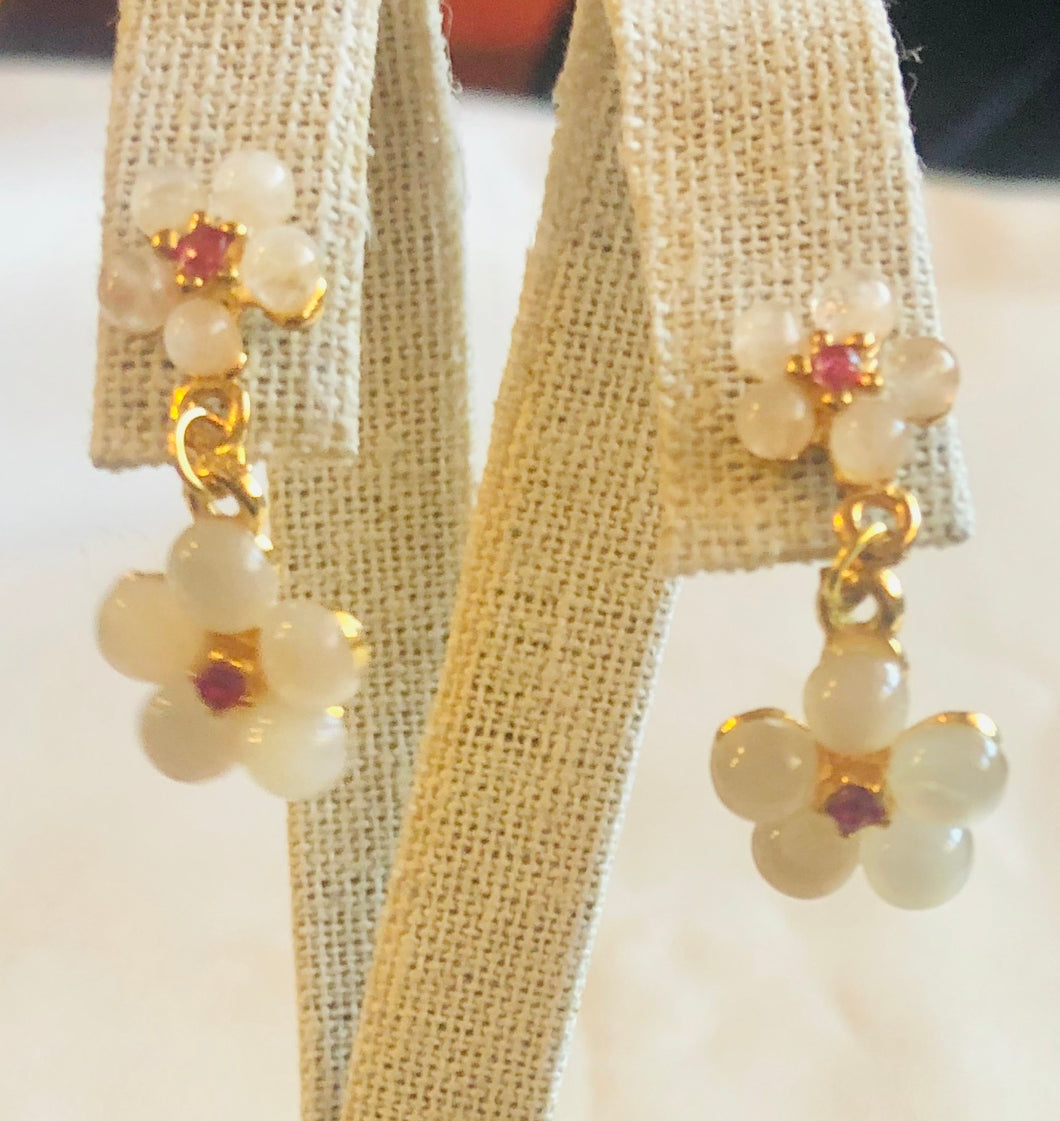 Moonstone and Ruby Earring