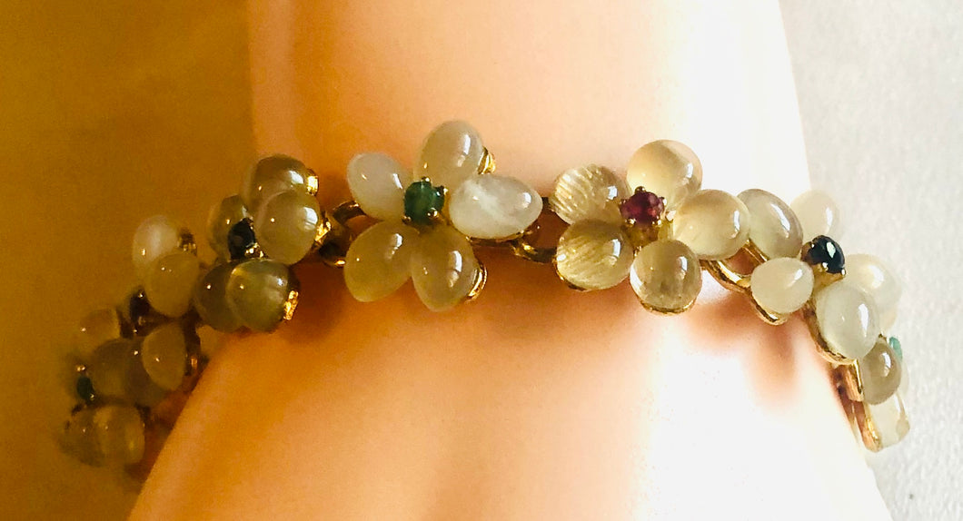 Moonstone, Ruby, Emerald and Sapphire Bracelet