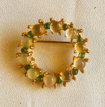 Load image into Gallery viewer, Moonstone and Peridot Brooch