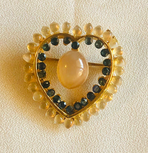 Moonstone and Sapphire Brooch