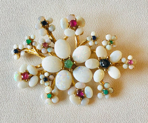 Genuine Opal and Emerald, Ruby, Sapphire Brooch