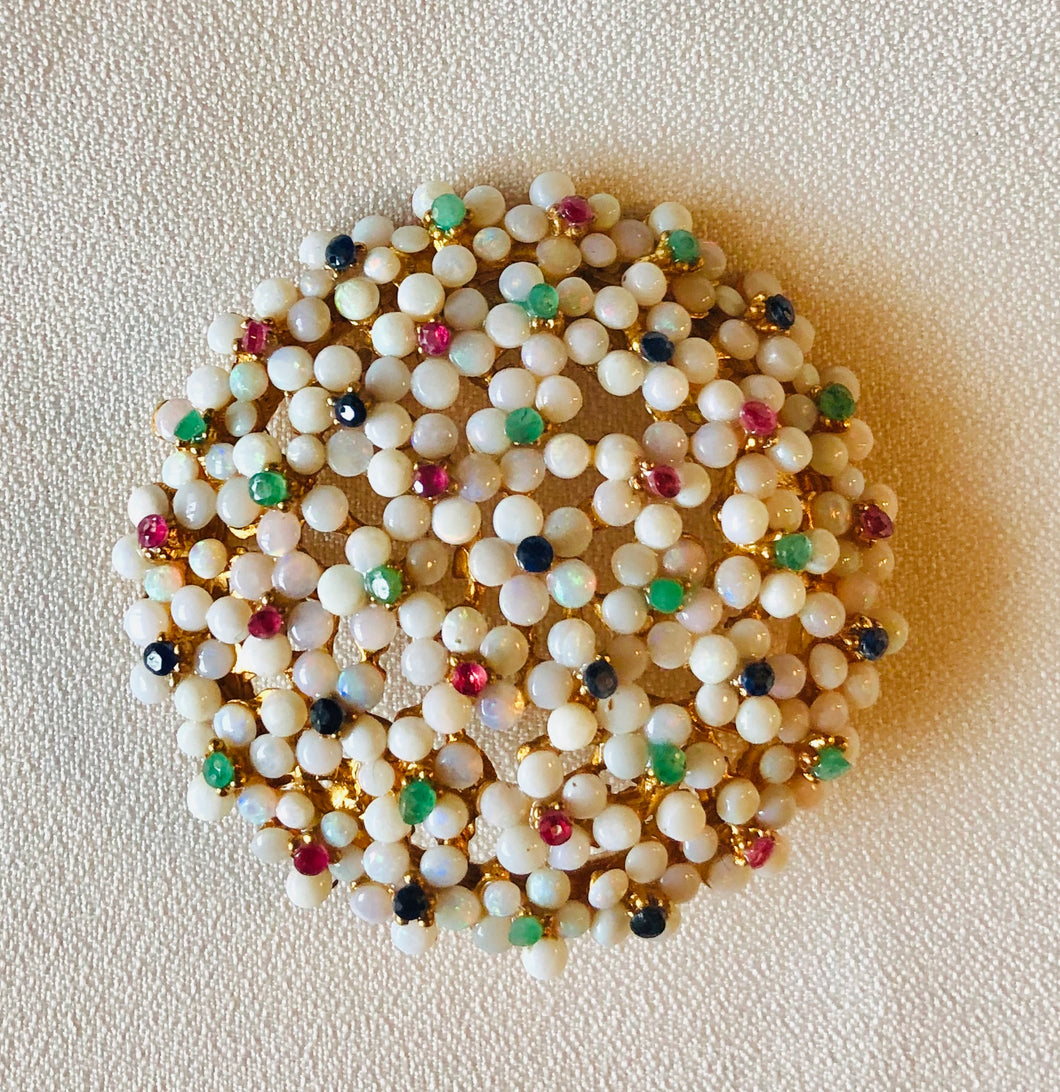 Genuine Opal, Emerald, Ruby and Sapphire Brooch