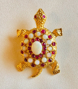 Genuine Opal and Genuine Ruby Brooch