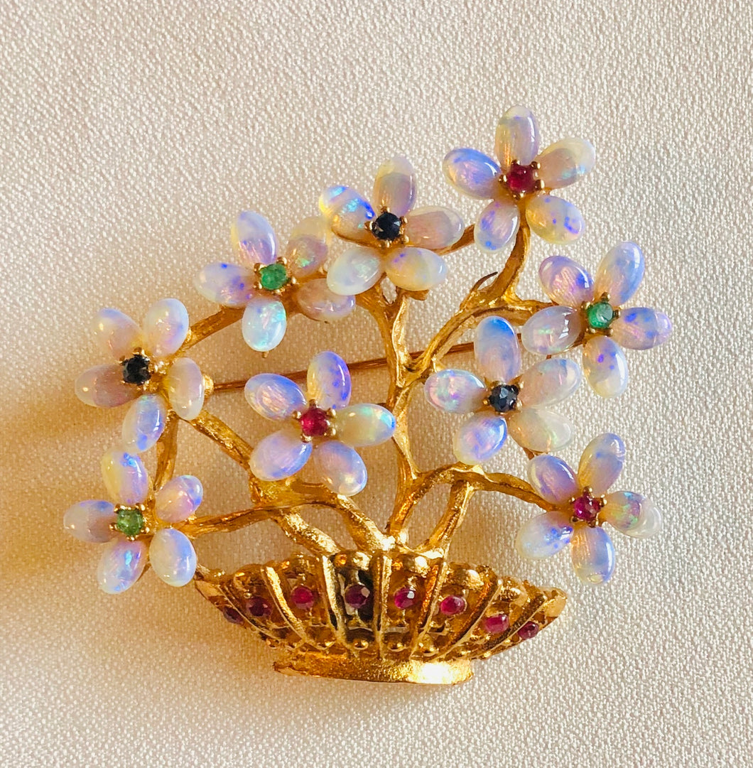 Genuine Opal, Ruby, Emerald and Sapphire Brooch
