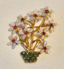 Load image into Gallery viewer, Genuine Opal, Ruby and Emerald Brooch