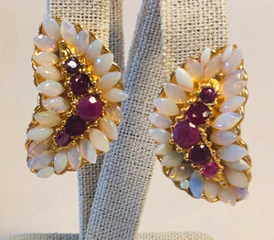 Genuine Opal and Ruby Earring
