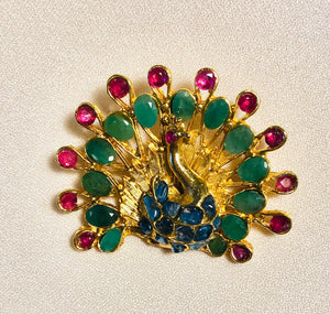 Genuine Ruby, Emerald and Sapphire Brooch