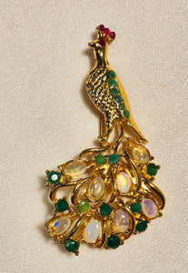 Genuine Emerald, Ruby and Opal Brooch