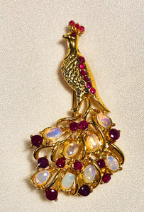 Genuine Ruby and Opal Brooch