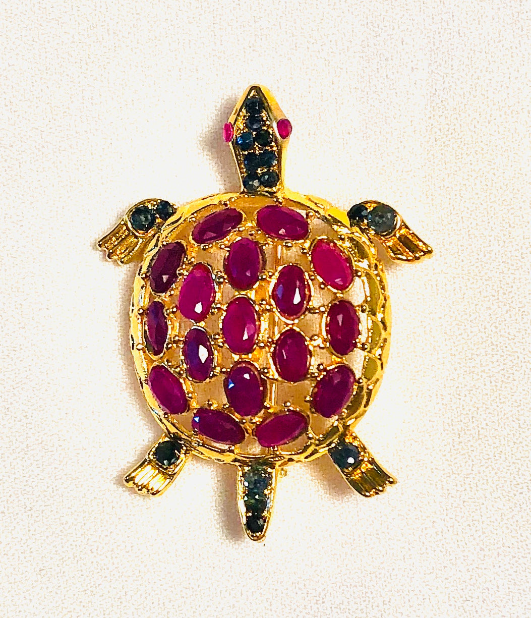 Geniune Ruby and Sapphire Brooch