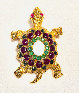 Genuine Ruby, Sapphire, Emerald and Opal Brooch