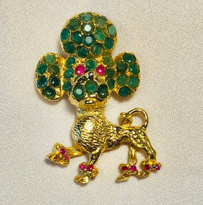 Genuine Emerald and Ruby Brooch