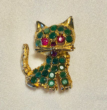 Load image into Gallery viewer, Genuine Emerald and Ruby Brooch