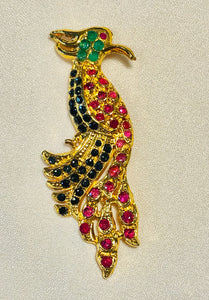 Genuine Sapphire, Ruby and Emerald Brooch