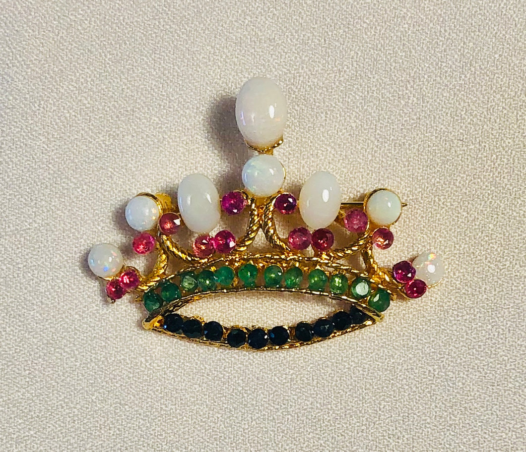 Genuine Sapphire, Emerald, Ruby and Opal Brooch