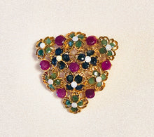 Load image into Gallery viewer, Genuine Sapphire, Ruby, Emerald and Opal Brooch