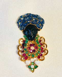 Genuine Sapphire, Ruby, Emerald and Opal Brooch