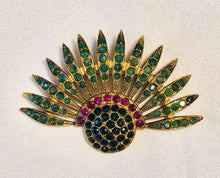 Load image into Gallery viewer, Genuine Emerald, Sapphire and Ruby Brooch