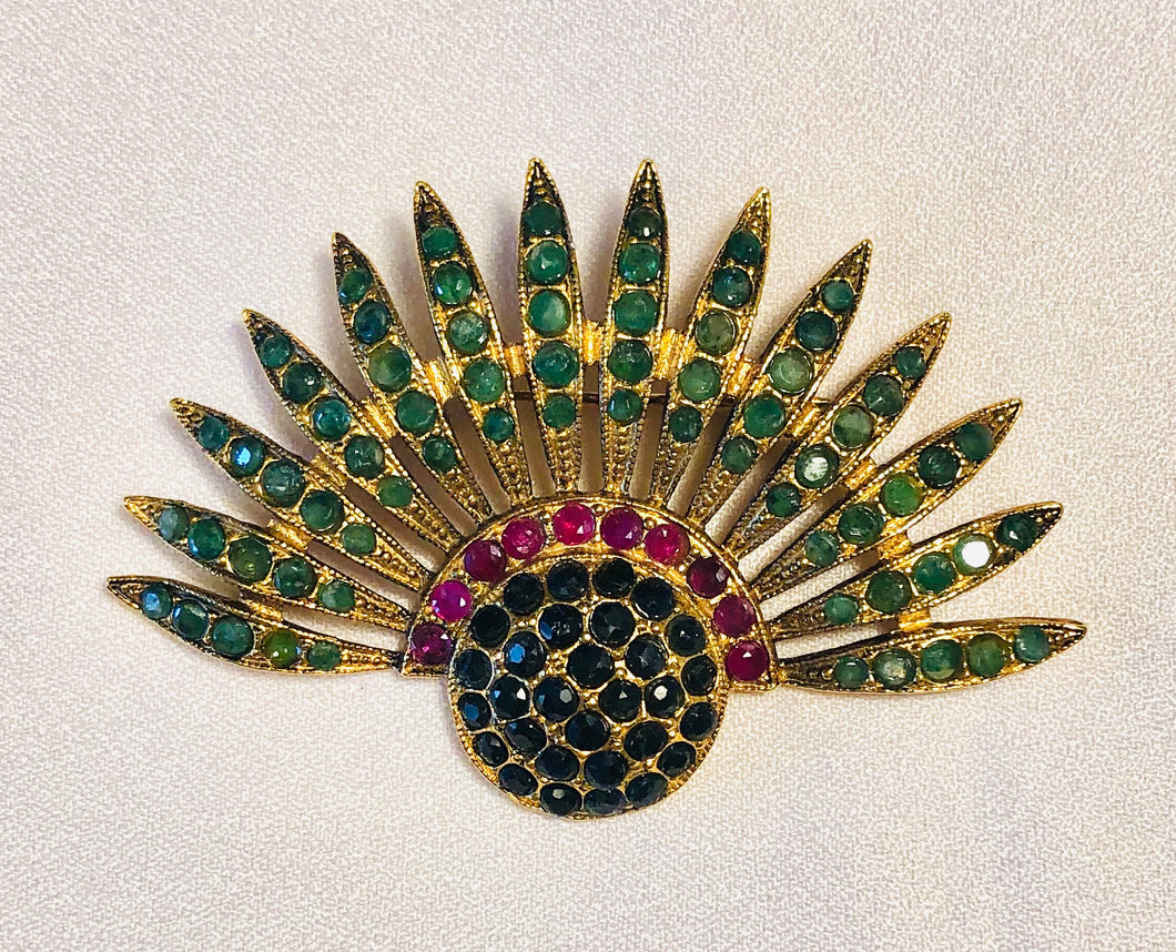 Genuine Emerald, Sapphire and Ruby Brooch
