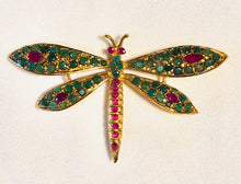 Load image into Gallery viewer, Genuine Ruby and Emerald Brooch