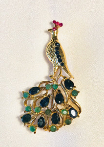 Genuine Sapphire, Emerald and Ruby Brooch