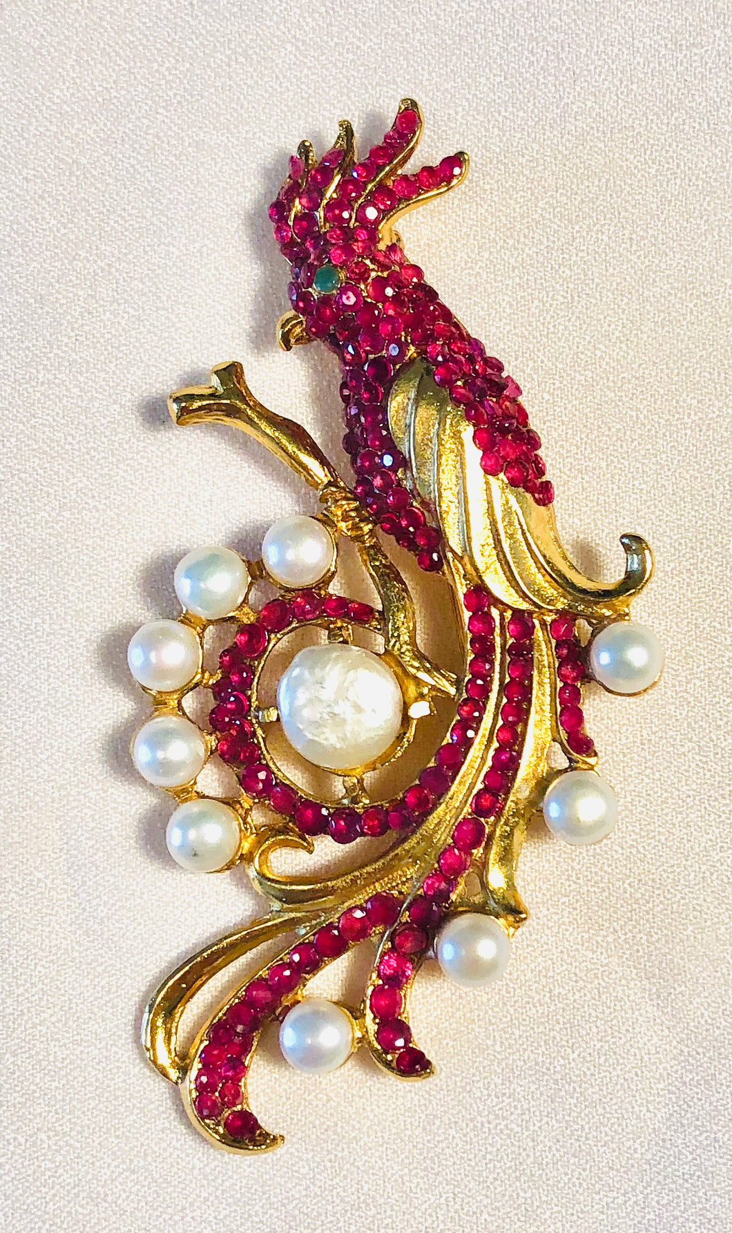Genuine Ruby, Fresh Water Pearl and Emerald Eye Brooch