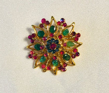 Load image into Gallery viewer, Genuine Ruby, Emerald and Sapphire Brooch