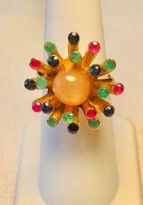 Genuine Sapphire, Emerald, Ruby and Moonstone Ring