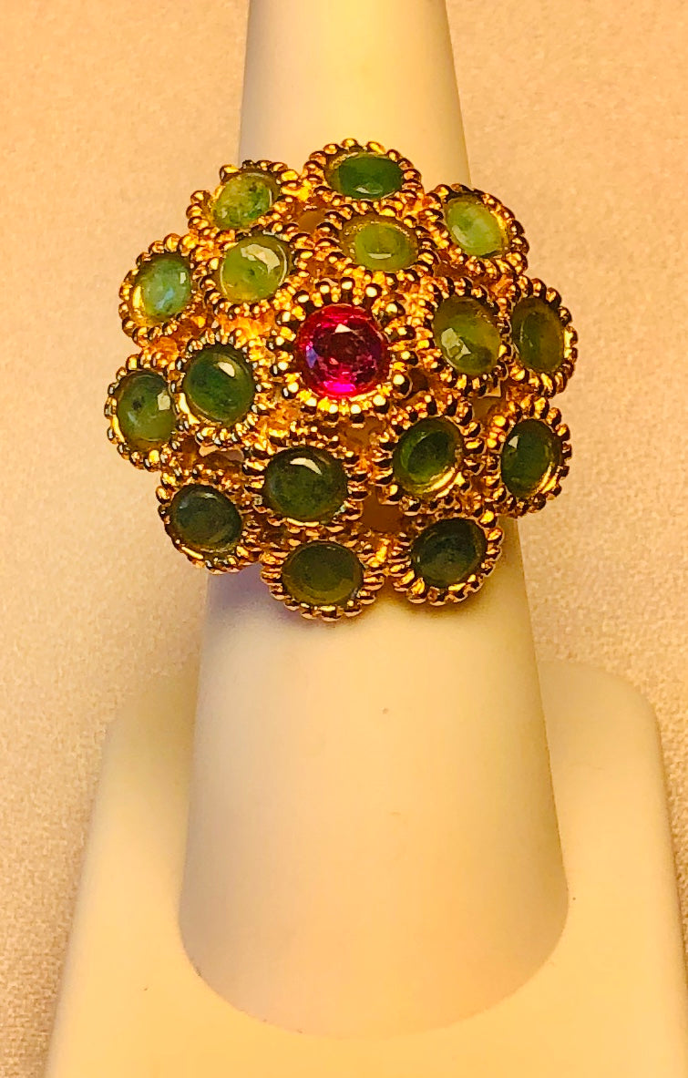 Genuine Emerald and Ruby Ring
