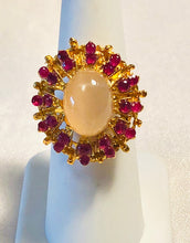 Load image into Gallery viewer, Genuine Ruby and Moonstone Ring