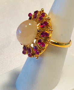 Genuine Ruby and Moonstone Ring