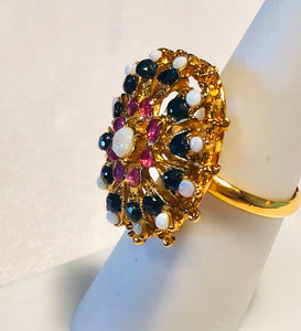 Genuine Sapphire, Ruby and Opal Ring