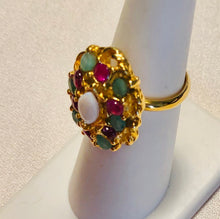 Load image into Gallery viewer, Genuine Ruby, Emerald and Opal Ring