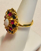 Load image into Gallery viewer, Genuine Ruby, Sapphire and Opal Ring