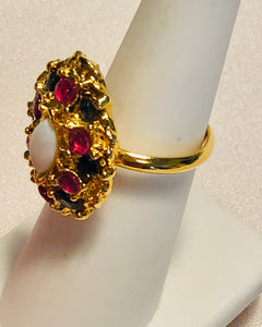 Genuine Ruby, Sapphire and Opal Ring