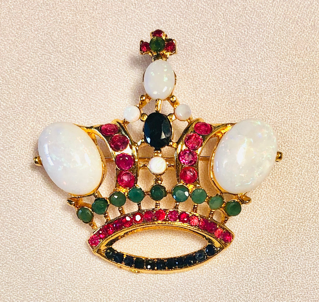 Genuine Ruby, Emerald, Sapphire and Opal Brooch