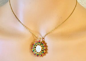 Genuine Ruby, Emerald and Opal Necklace