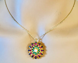 Genuine Sapphire, Ruby, Emerald and Opal Necklace